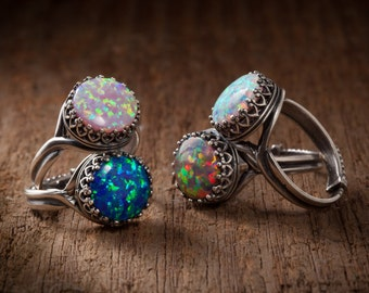 Opal Ring in Silver Filigree With Your Choice of Black, Pink, White or Fire Opal with Adjustable Band, October Birthstone