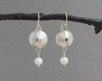 Sterling Silver and White Pearl Earrings, Brushed Silver, Dangle Earrings