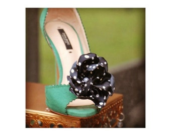 Shoe Clips Polkadot Silky Flower. Autumn bride bridal couture, dainty shabby chic. Houndstooth Black White Ivory Pink Blue Red Rust Navy Tan