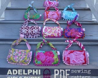 PDF PATTERN - Adelphi Girls Purse - Optional Bow - Knotted Tie Strap - Pom Pom Fringe - Magnetic Snap Closure