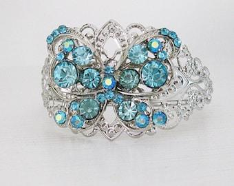 Blue Bracelet, Silver Jewelry, Butterfly Cuff Bracelets, Cuff Bracelet, Blue Wedding Bracelet, Silver Bracelets, Something Blue Wedding,B079