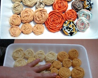 Rolled Roses Coffee Cream fabric flower wholesale Apricot yellow tan orange amber gold flowers