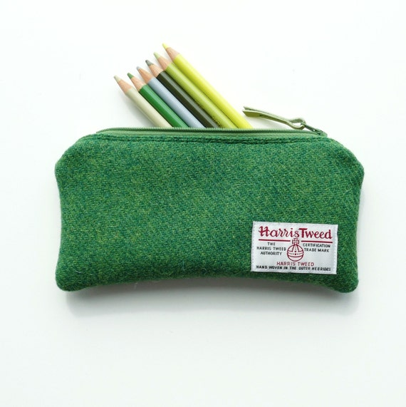 Green HARRIS TWEED pencil case, padded gadget pouch, charger pouch