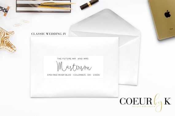 Calligraphy Script Wedding Address Label The Classic By