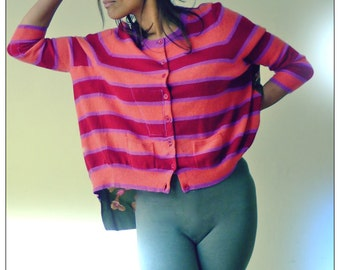 Upcycled Stripey Cashmere & Floral Silk Scarf Back Cardigan              ReMade in England UK