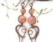 Peach Moonstone earrings copper wire jewelry bohemian jewelry bohemian earrings copper wire earrings boho earrings spring earrings wire wrap