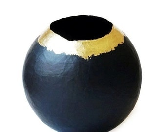 Paper Mache Vase / Paper Vessel / Black and Gold /  Paper Bowl / Papier Mache Art / Black Decor