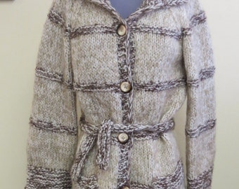 Vintage Handmade Knit Wool Mohair Sweater Jacket Cardigan, 4 Button Front, 2 Pockets, Tan Beige Bell Style Sleeves, Belted,  Womens Medium