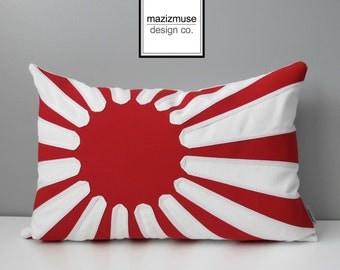 "Japanese Flag Pillow Cover, Rising Sun, Decorative Japan Flag Pillow Case, Red White Sunburst, Sunbrella Cushion Cover,  Mazizmuse, 12""X18"""