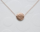 Rose gold necklace, disk daisy flower, pink embossed pattern circle coin, simple modern necklace, gift for her, everyday jewelry - Laura