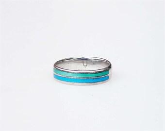 Vintage Modern Enamel Ring - Sterling Silver ~ Large Size 7.5