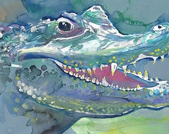 POSTER SIZED Alligator Face Watercolor Painting Print, Artist-Signed