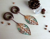 Autumn Patina Leaf Drop Gauged Earring Plugs