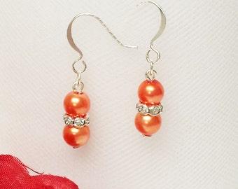 Pumpkin Orange Pearl Earrings - Traditional Bridesmaid Earrings - 6mm Rondelle Rhinestone Flower Girl Earrings