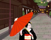 Japanese Tenugui Cotton Towel Fabric, Hand Dyed Fabric, Kimono, Geisha Girl, Maiko Women, Old Town, Cat, Wall Art Hanging, Gift Idea, h231