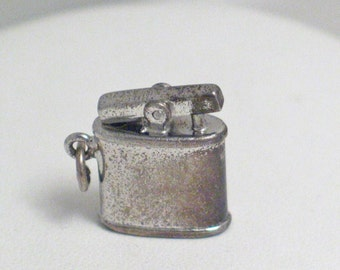vintage estate 3-D miniature Table lighter smoking cigar bar ritzy night club theme sterling silver bracelet charm or pendant