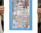 Sinclair ZX Spectrum (Speccy) screen print blue red gold art silkscreen circuit portrait retro computing