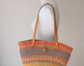 VIntage 1980s Rianbow Jute MArket Bag