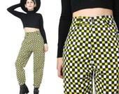 HOLD 90s TAXI CAB High Waisted Pants Vintage Hip Hop Novelty Print Pants Graphic Slim Skinny Pants Club Kid Black Yellow Checkered (M)
