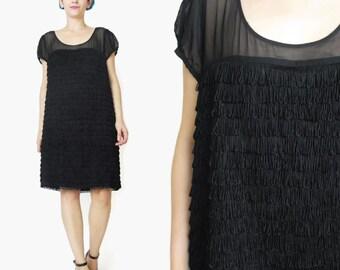 Vintage Black Fringe Dress Tassel Dress 1920s Style Flapper Dress 1990s 1960s Go Go Dress Cocktail Little Black Dress Sheer Chiffon E282