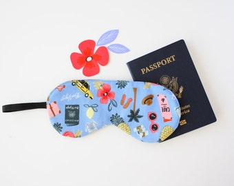 Rifle Paper Co. Sleep Mask / Eye Mask  - Bon Voyage fabric in Periwinkle - Gift for Her - Mothers Day Gift - Travel Mask - Travel Accessory