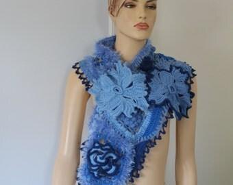 Crochet Scarf, Lace Knit Scarf, Blue Crochet Flower  Scarf - Neck Warmer , Freeform Crochet,  Irish crochet, Romantic Bohemian Scarf
