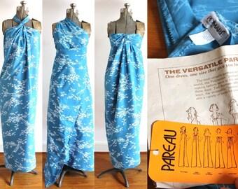 1960s Sarong Dress / 60s 70s Polynesian Hawaiian Wrap Dress Pomare Pareu