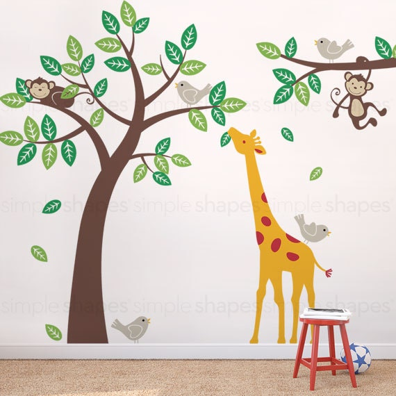 Wall Decal Kid Children wall decals - Monkey Giraffe and Birds Tree and Branch Set
