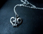 Love cross pendant sterling silver necklace - Simple antique love necklace girly christian jewelry - Sweetheart necklace for her