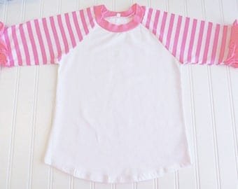 Girls Ruffle Raglan, Icing Ruffle Shirt, Pink Striped, Icing Ruffle Raglan Shirt, Christmas Shirt, Girls Triple Ruffle Shirt