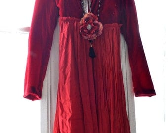 Gypsy soul red velvet coat, bohemian red Valentines day date night coat dress, Boho clothes, Romantic red duster Kimono, True rebel clothing