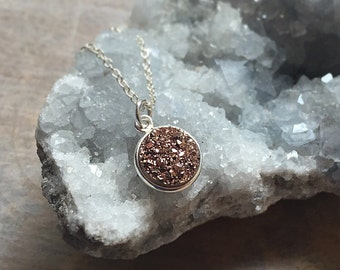 Druzy Necklace, Round Druzy Pendant, Rose Gold Metallic Pendant, Sterling Silver Chain Necklace, Druzy Jewelry, Minimal Jewelry