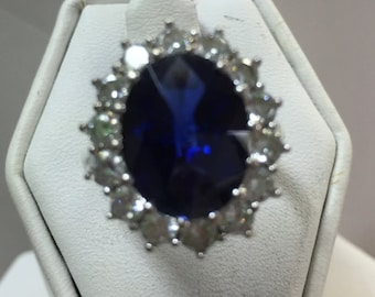 Blue Sapphire Oval Cut Stone in Sterling Silver Setting Size 6