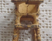 Reserved for DarleneVintage Miniature Toy Tall High Chair Cast Iron Yellow Painted Finish