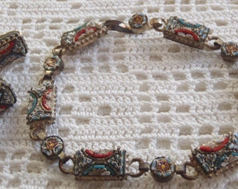 Vintage Bracelet Earring Set Mosaic Tiles Italy
