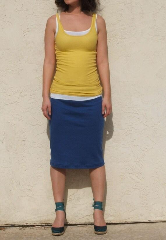 Blue Pencil Skirt, Everyday Pencil Skirt, Blue Jersey Skirt, Pull On Skirt, Straight Skirt, Sumer Skirt / Best Seller-Deep Blue
