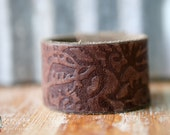 CUSTOM HANDSTAMPED CUFF - bracelet - personalized by Farmgirl Paints - brown leather cuff with botanical imprinting