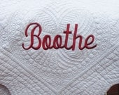 Embroidered White Baby Quilt -  Personalized / Monogrammed Baby Blanket
