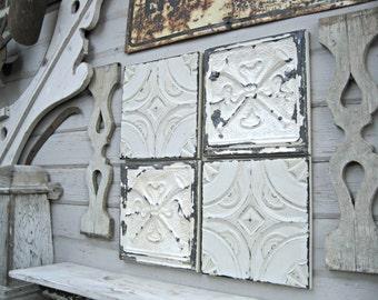"Tin ceiling tile SET of 4) 12"" x 12"" FRAMED.  Antique vintage tin tiles.  Old original paints. Rustic decor. Shabby dingy off whites."