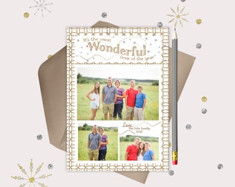 It's the Most Wonderful Time Christmas Photo Cards · 3 pictures · gold & white