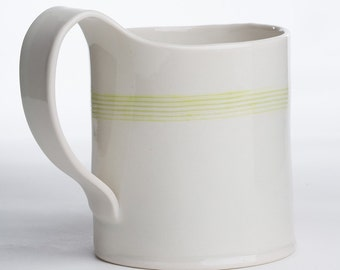 Hand Built Porcelain Striped Mug - Lime