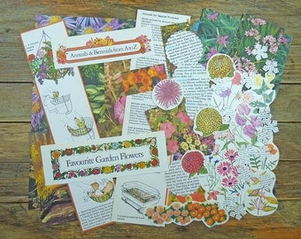 Vintage scrapbooking pack, flowers and gardens, 49 pc scrap pack, cutouts and die-cuts, colourful images, paper craft kit.