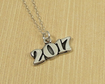 2017 Year Necklace, Sterling Silver 2017 Charm on a Silver Cable Chain