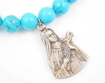 Handmade Saint Therese of Lisieux Catholic Medal Faux Blue Turquoise Stretch Bracelet - Patron Saint Jewelry -Dyed Howlite Bracelet - BR10