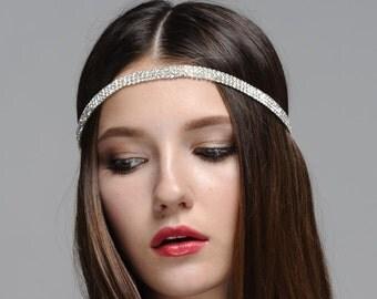 Halo Bohemian Goddess Rhinestone Jeweled Headband Head Piece Forehead Headdress Head Chain