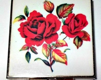 1950's Compact Pill Box, Enamel Square Hinged, Red Roses Bouquet Motif, Signed Japan, 4 Pockets, VisionsOfOlde