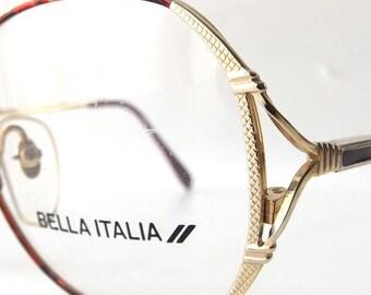 vintage 1980's NOS bella italia square round metal frame eyeglasses red wine oversized eye glasses modern women accessories deadstock men