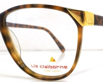 vintage 80s liz claiborne backstock plastic eyeglasses oversize round frame women fashion retro modern eye glasses eyewear brown golden gold