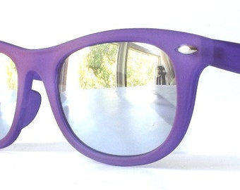 vintage 1990's NOS wayfarer sunglasses matte purple violet rubber frames silver mirror lenses sun glasses mens womens eyewear fashion retro