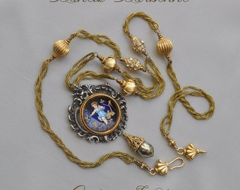 Angelology / One of a Kind Assemblage Necklace French Rococo Enamel Cherub